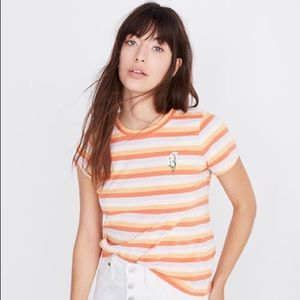 Madewell Daisy Embroidered Striped Tee